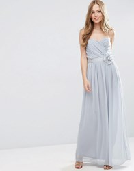Asos Wedding Chiffon Bandeau Maxi Dress With Detachable Corsage Silver Grey