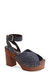 Women's Free People 'Orion' Open Toe Clog Black Indigo Leather