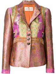 Etro Floral Patchwork Blazer Pink And Purple