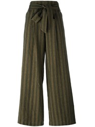 Masscob Belted Straight Striped Trousers Green
