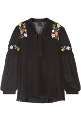 Anna Sui Garden Embroidered Georgette Blouse Black