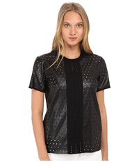 Just Cavalli Short Sleeve Faux Leather Perforated Top