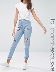 Liquor And Poker Tall Boyfriend Jeans With Multi Sequin Badges Blue