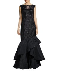 Teri Jon Sleeveless Sequined Mermaid Gown Black