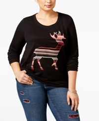 Styleandco. Style Co. Plus Size Reindeer Sweatshirt Only At Macy's Deep Black