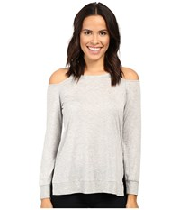 Lanston Cut Out Shoulder Pullover Heather Women's Clothing Gray