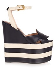 Gucci Sally Leather Wedge Sandals Blue White