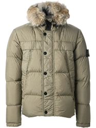 Stone Island Fur Trimmed Padded Jacket Nude And Neutrals