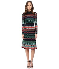 M Missoni Colorful Ripple Stitch Long Sleeve Mid Length Dress W Ruffle Collar Coral