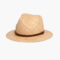Madewell Straw Fedora Hat With Leather Band Natural