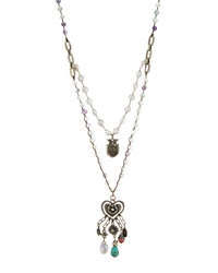 Love Heals Braided Fluorite And Pearl Pendant Necklace