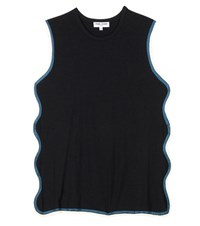 Opening Ceremony Scalloped Cotton Tank Top Black