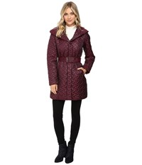 Cole Haan Signature Quilted Coat With Hood Cabernet Women's Coat Burgundy