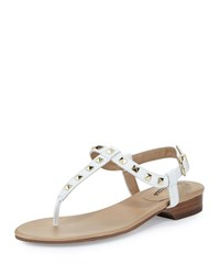Neiman Marcus Breana Studded Leather T Strap Sandal White