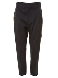 Etoile Isabel Marant Noah Checked Drop Crotch Cropped Trousers Dark Grey