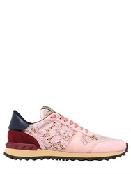 Valentino Lace And Suede Sneakers