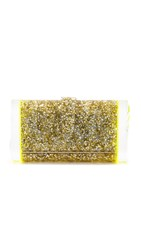 Edie Parker Lara Backlit Clutch Gold And Silver Confetti Yellow
