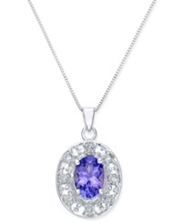 Macy's Tanzanite 1 Ct. T.W. And Diamond 1 5 Ct. T.W. Oval Pendant Necklace In 14K White Gold