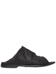 Goran Horal Pointed Waxed Leather Slide Sandals Black