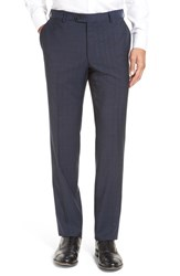Men's Pal Zileri Flat Front Plaid Wool Trousers Navy
