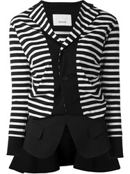08Sircus Striped Panel Deconstructed Blazer Black