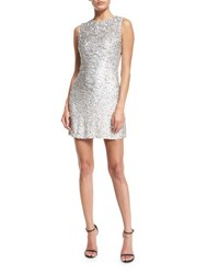 Jenny Packham Iridescent Beaded Sleeveless Mini Dress Silver