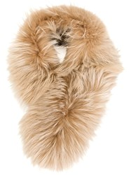 Mr And Mrs Italy Raccoon Fur Collar Nude And Neutrals
