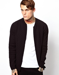 Asos Quilted Bomber Jacket Black