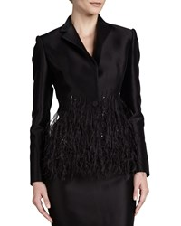 Carolina Herrera Twill Sequin Collar Blazer Black