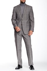 Vince Camuto Black White Plaid Two Button Notch Lapel Modern Fit Wool Suit Gray