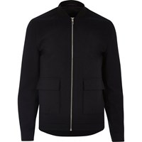 River Island Mens Navy Slim Fit Blazer Bomber Jacket