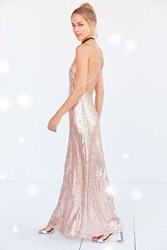 Glamorous Sequin Backless Maxi Slip Dress Rose