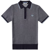 Fred Perry Reissues Two Colour Knit Polo Blue