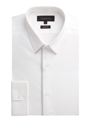 Limehaus Plain Slim Fit Poplin Formal Shirt White