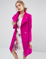 Ted Baker Aurore Long Wrap Collar Coat In Pink Pink