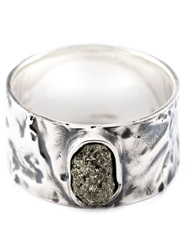 Drew Evan Pyrite Stone Ring Metallic