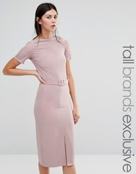 Alter Tall Belted Pencil Dress With Split Front Detail Rose Pink