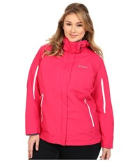 Columbia Plus Size Bugaboo Interchange Jacket Ruby Red White Nocturnal Women's Coat
