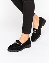 London Rebel Snaffle Trim Chunky Loafers Black