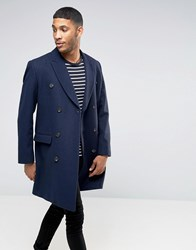Asos Wool Mix Double Breasted Overcoat In Navy Navy