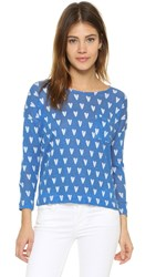 Chinti And Parker Heart Print Long Sleeve Tee Denim Blue