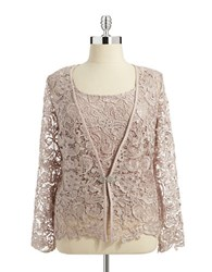 Cachet Lace Shell And Cardigan Set Mauve
