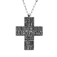 Openjart Thick Carved Cross Necklace Silver