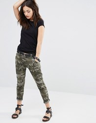 Only Camo Skinny Pant With Ripped Detail Military Green