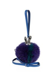 Mcm Rabbit Embellished Striped Fox Fur And Leather Wristlet Navy Blue