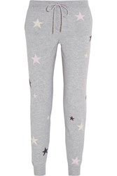 Chinti And Parker Star Intarsia Cashmere Track Pants Light Gray