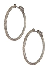 18K White Gold Plated Sterling Silver Pave Cz In And Out Hoop Earrings Metallic