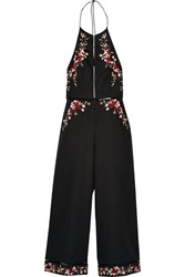 Zimmermann Sakura Embroidered Linen And Cotton Blend Jumpsuit Black