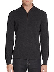 Saks Fifth Avenue Quarter Zip Cashmere Sweater Charcoal