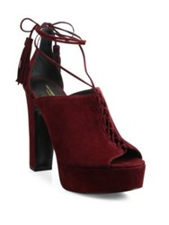 Michael Kors Sylvan Suede Lace Up Platform Sandals Burgundy Luggage